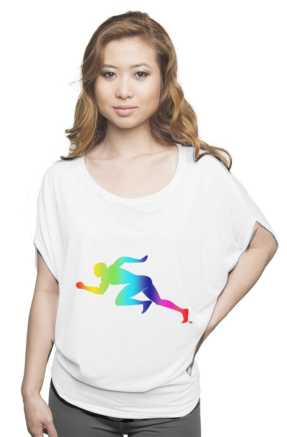 "Rainbow ""Running Man"" flowy draped tee"