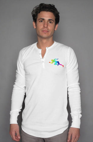 "Rainbow ""Running Man"" long sleeve henley"