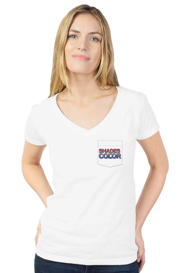 Shades of Color Logo womens tultex v neck