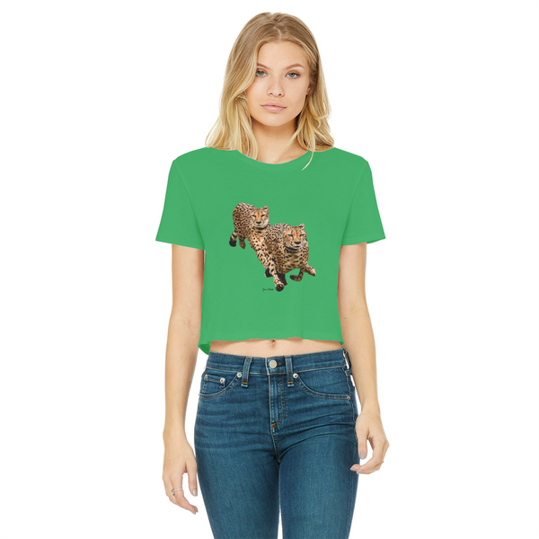 The Cheetah Brothers Classic Women's Cropped Raw Edge T-Shirt