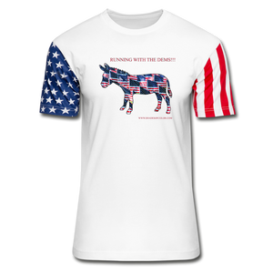 Running with the Dems!!! Stars & Stripes T-Shirt - white