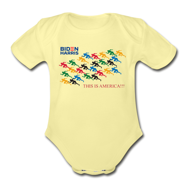 "Biden/Harris An Awesome ""This is America"" Baby Bodysuit! - washed yellow"