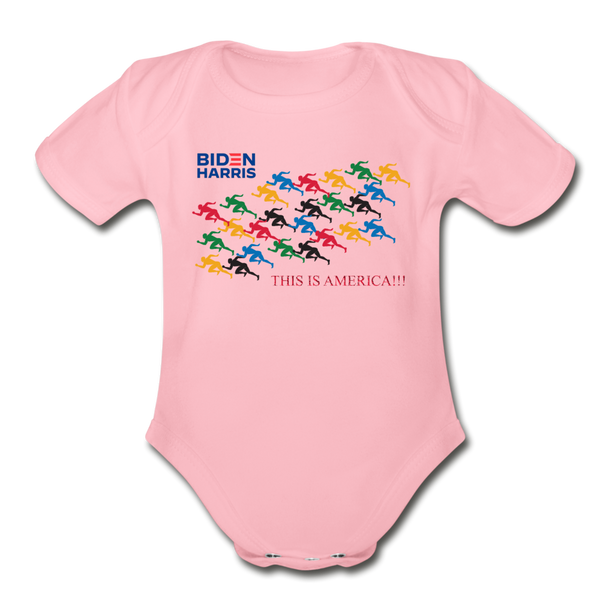 "Biden/Harris An Awesome ""This is America"" Baby Bodysuit! - light pink"