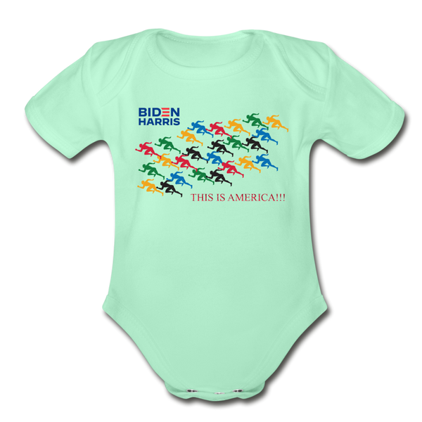 "Biden/Harris An Awesome ""This is America"" Baby Bodysuit! - light mint"