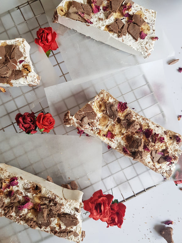 Hazelnut, Rose & Belgian Chocolate Nougat