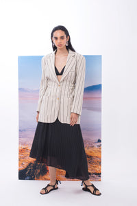 'CL001' Linen striped back open jacket