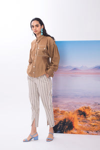 'CL002' Linen striped pants with Purepecha artisan woven tape