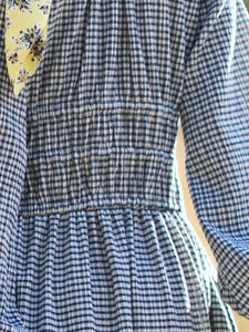 【Pre-order】Checked shirring long sleeve Dress