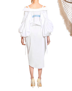 `SD001` Volume shirt dress with Purepecha woven tape