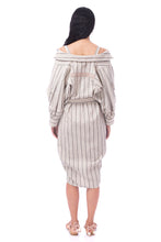 Load image into Gallery viewer, 【New Collection】'CL003' 2way Linen striped shirt dress with Purepecha artisan woven tape