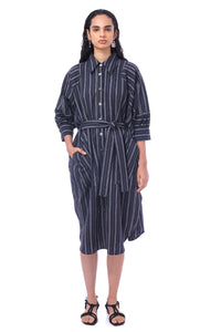 【New Collection】'CL003' 2way Linen striped shirt dress with Purepecha artisan woven tape