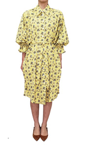 【Pre-order】Mexican flower print two-way Shirtdress