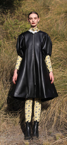 【Pre-order】Cactus leather puff sleeve Dress
