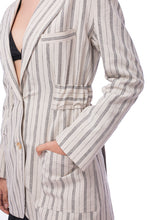 Load image into Gallery viewer, 'CL001' Linen striped back open jacket