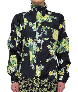 【Pre-order】Mexican flower print puff sleeve Bomber Jacket