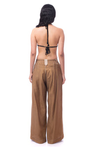 'MC002' Tucked volume pants with Purepecha artisan woven tape