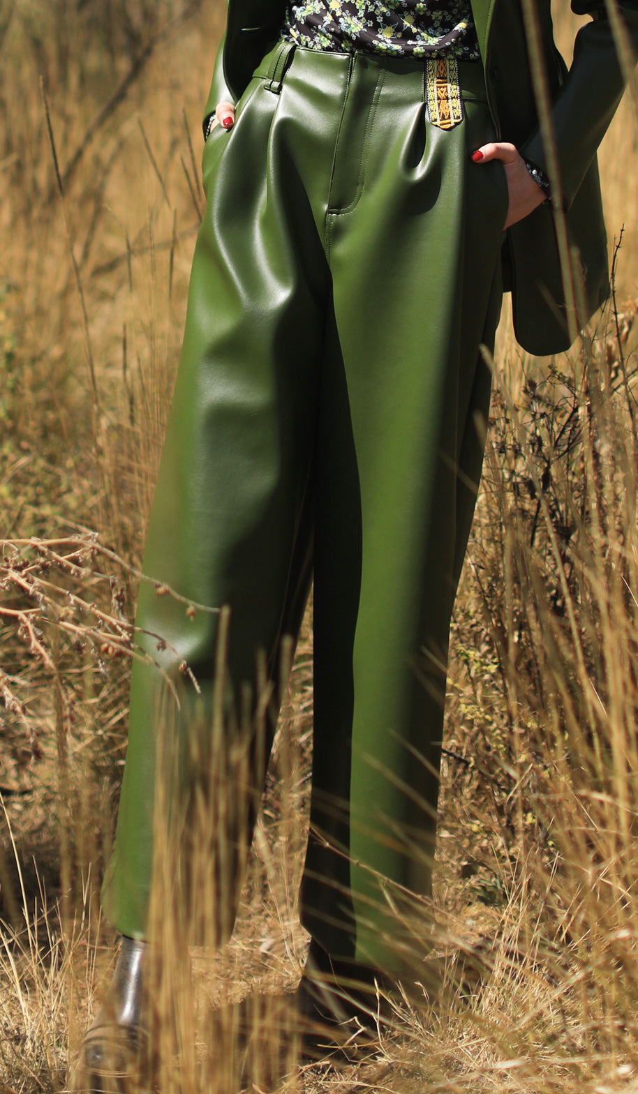 【Pre-order】Cactus leather volume Pants with Purepecha artisan woven tape