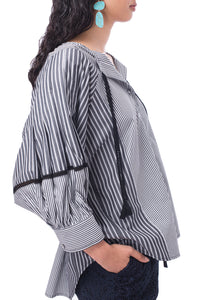 'BS002' Multi striped blouse