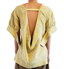 Load image into Gallery viewer, 'L002' Back open linen blouse with Purepecha artisan woven tape