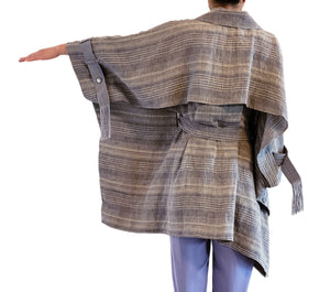 'L004' Linen cape coat with Purepecha artisan woven tape