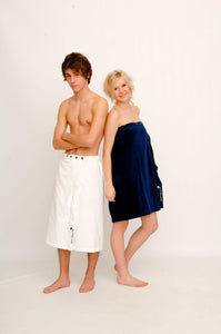 Navy unisex  beach or bath wrap - Bombura Changing Robes