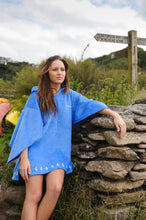 Load image into Gallery viewer, Blue organic cotton kaftan changing robe