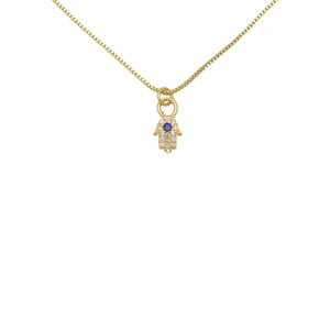 AW Boutique's 15.5 gold filled box chain with a mini Hamsa Hand pendant filled with clear cubic zirconia crystals surrounding a single blue cubic zirconia crystal.