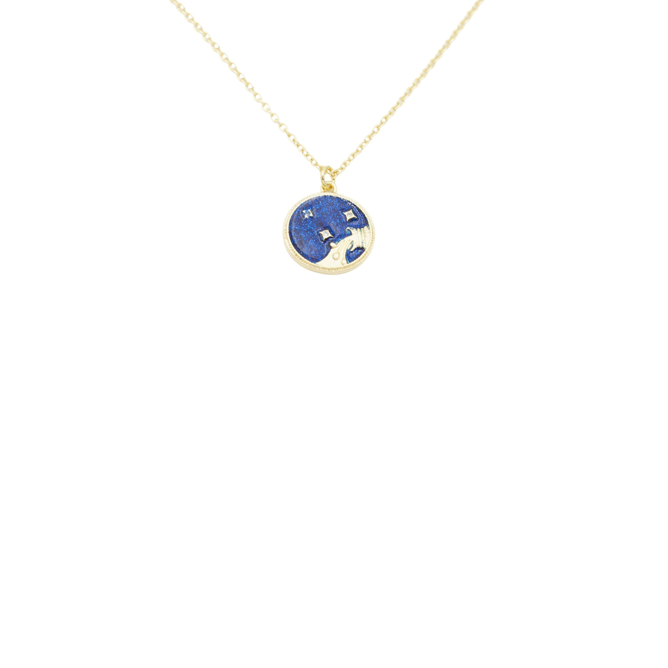 AW Boutique's Zodiac Astro Coin is a dainty pendant full of sparkle and shine.  This piece adds a pop of colour to your everyday wear and at 18 inches is a great length to mix and layer your other chains with.  Proudly wear either your own star sign or the star sign of a loved one close to your heart.  Zodiac shown is Aquarius.