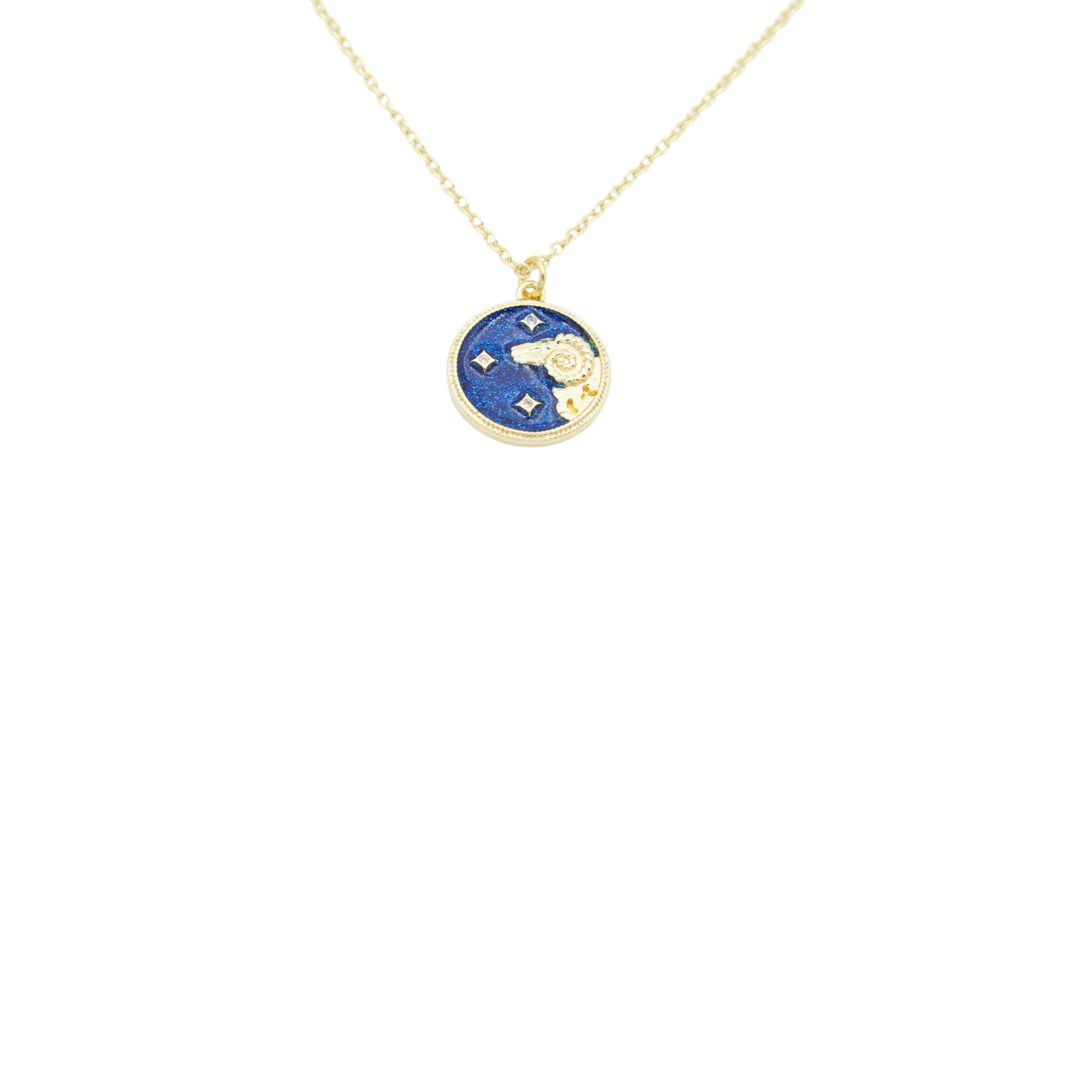 AW Boutique's Zodiac Astro Coin is a dainty pendant full of sparkle and shine.  This piece adds a pop of colour to your everyday wear and at 18 inches is a great length to mix and layer your other chains with.  Proudly wear either your own star sign or the star sign of a loved one close to your heart.  Zodiac shown is Aries.
