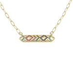 Load image into Gallery viewer, AW Boutique's Multicolour Crystal Bar Pendant on a 16 inch fine paperclip chain.  The pendant is filled with bright, sparkling cubic zirconia multicoloured crystals in a geometric pattern.