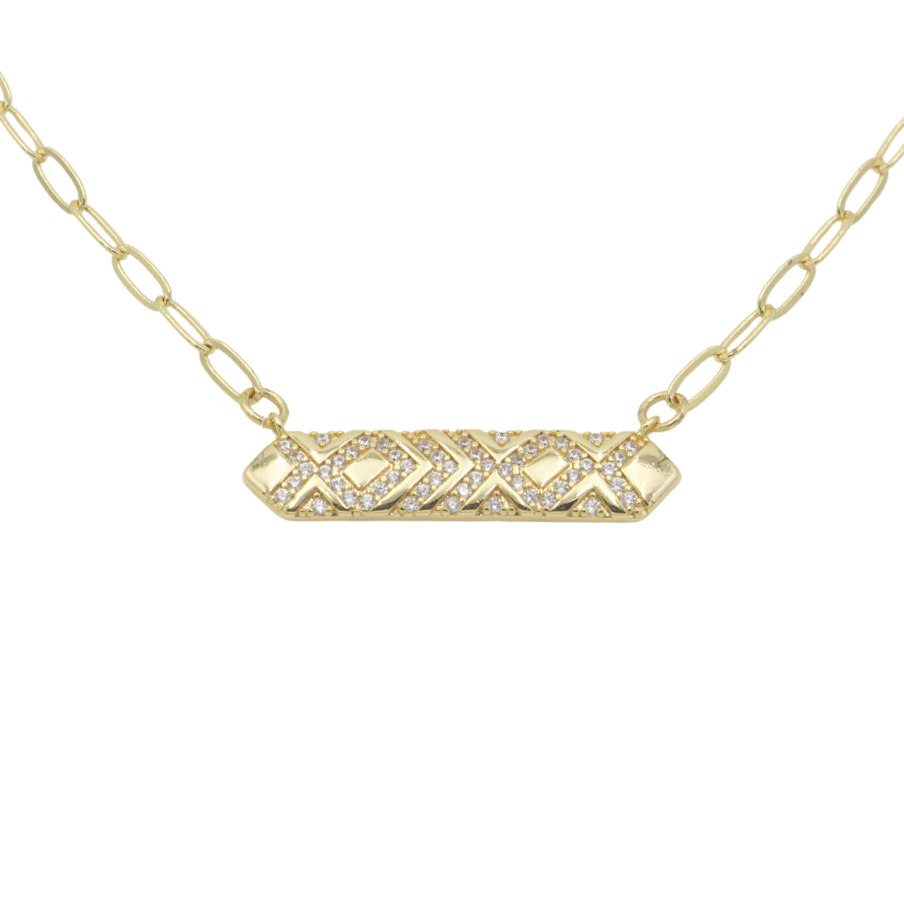 AW Boutique's Crystal Bar Pendant on a 16 inch fine paperclip chain. The pendant is filled with bright, sparkling cubic zirconia clear crystals in a geometric pattern.