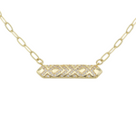 Load image into Gallery viewer, AW Boutique's Crystal Bar Pendant on a 16 inch fine paperclip chain. The pendant is filled with bright, sparkling cubic zirconia clear crystals in a geometric pattern.