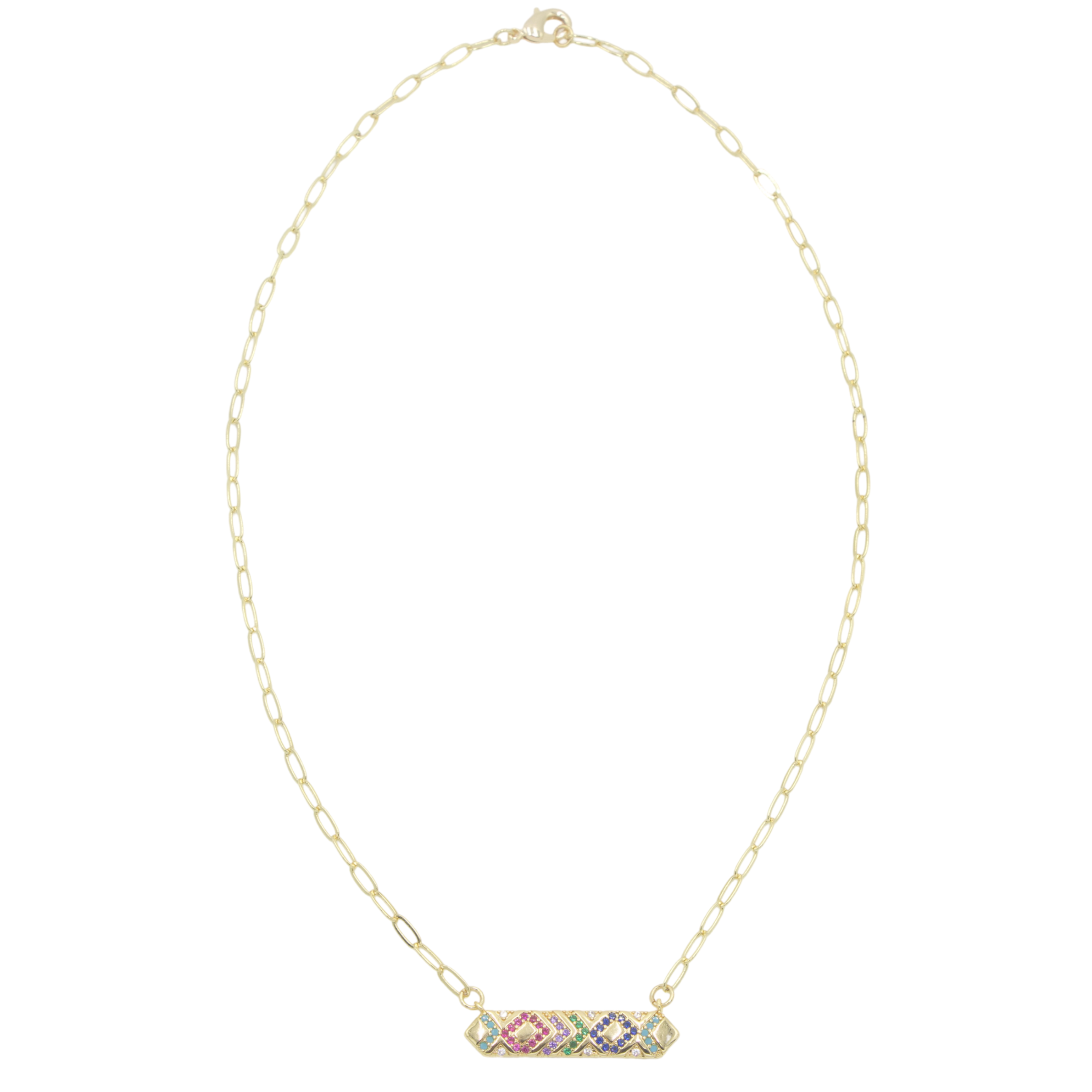 AW Boutique's Multicolour Crystal Bar Pendant on a 16 inch fine paperclip chain.  The pendant is filled with bright, sparkling cubic zirconia multicoloured crystals in a geometric pattern.