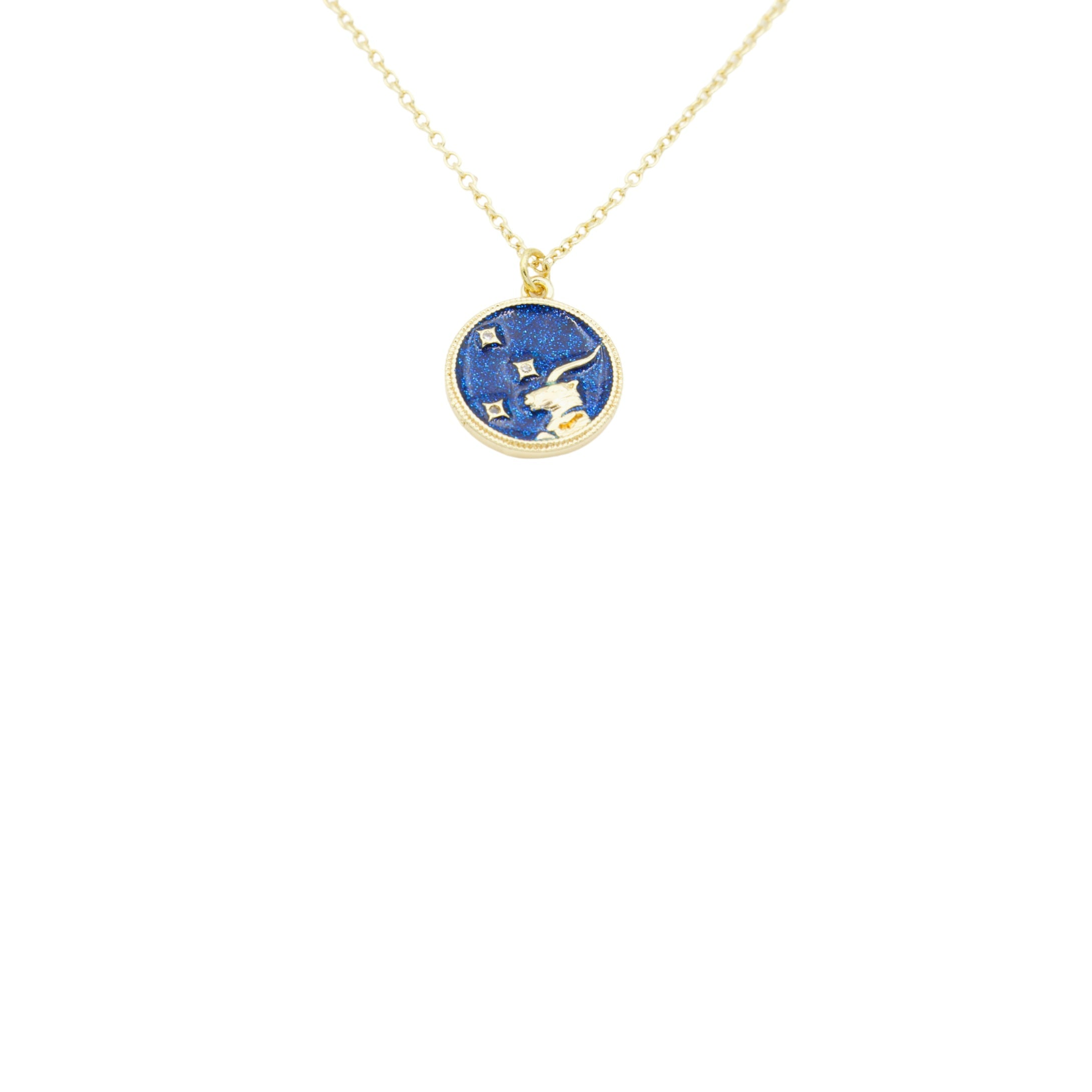 AW Boutique's Zodiac Astro Coin is a dainty pendant full of sparkle and shine.  This piece adds a pop of colour to your everyday wear and at 18 inches is a great length to mix and layer your other chains with.  Proudly wear either your own star sign or the star sign of a loved one close to your heart.  Zodiac shown is Capricorn.