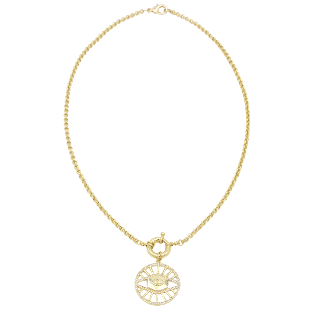 AW Boutique's gold filled 18 inch rolo chain necklace (link 3mm) is finished with a front sailor's clasp and Evil Eye medallion finished with clear cubic zirconia crystals.