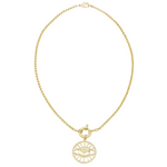 Load image into Gallery viewer, AW Boutique's gold filled 18 inch rolo chain necklace (link 3mm) is finished with a front sailor's clasp and Evil Eye medallion finished with clear cubic zirconia crystals.