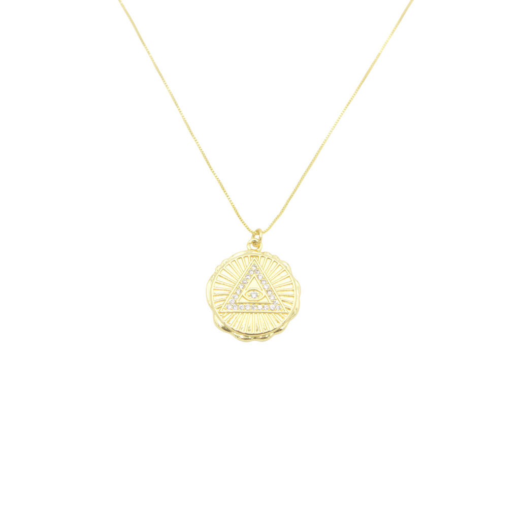 "AW Boutique's gold filled 18 inch box chain necklace featuring an Eye of Providence, or the ""all seeing eye"", pendant with cubic zirconia detail."