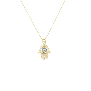 AW Boutique's gold filled 18 inch box chain necklace featuring a Hamsa Hand pendant with clear and blue cubic zirconia crystals.