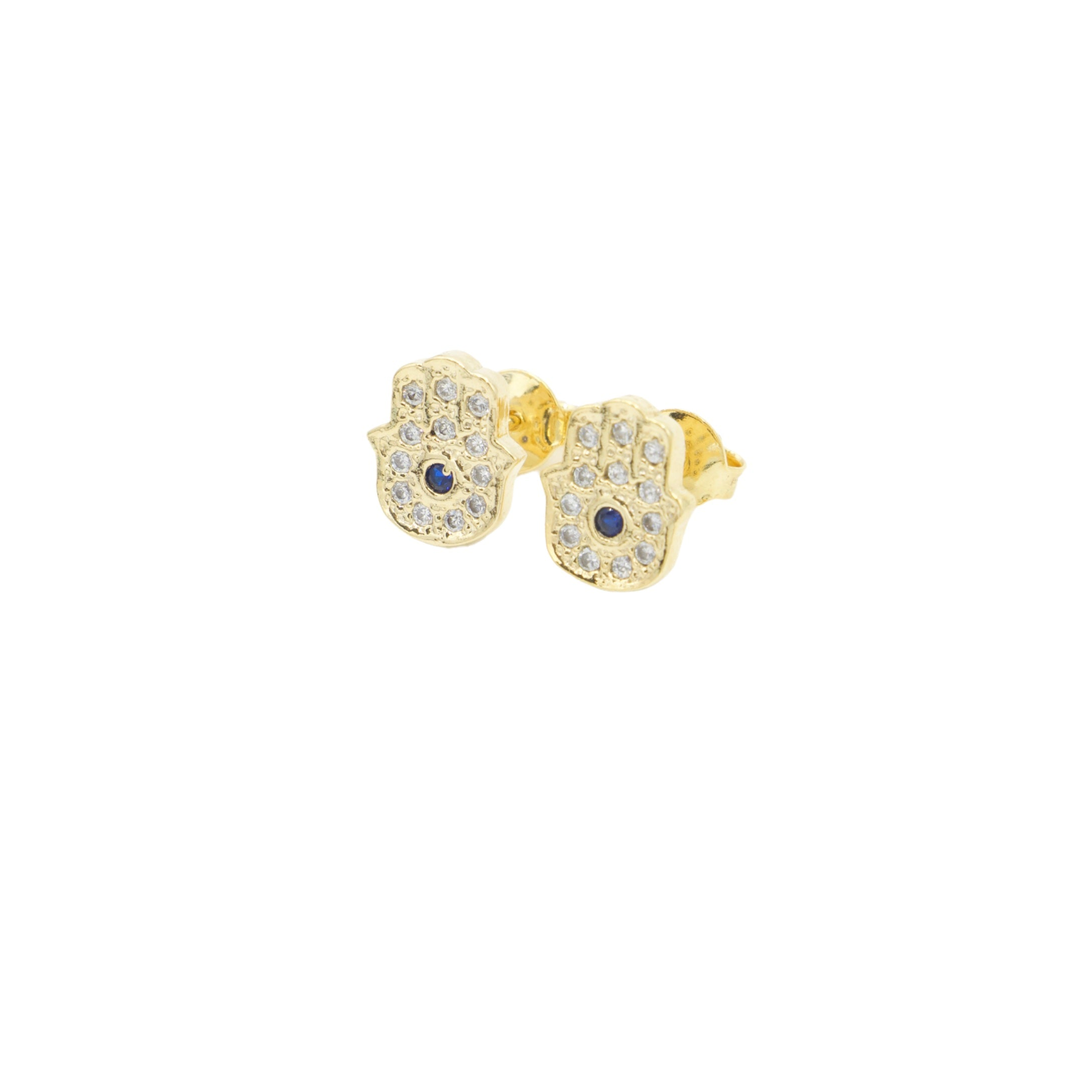AW Boutique's Hamsa Stud Earrings are filled with bright clear and blue cubic zirconia stones that make them the perfect earring to wear everyday to lift a casual look.  The Hamsa is a protective symbol that will bring their owner happiness, luck, health and good fortune.  The central blue cubic zirconia stone forms an evil eye, giving the owner extra protection to ward off the evil eye gaze and negative energies.