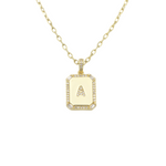 Load image into Gallery viewer, AW Boutique's gold filled 16 inch cable chain necklace finished with a dainty initial pendant with cubic zirconia detail. A initial shown.