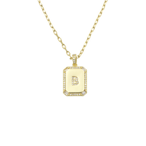 AW Boutique's gold filled 16 inch cable chain necklace finished with a dainty initial pendant with cubic zirconia detail. B initial shown.