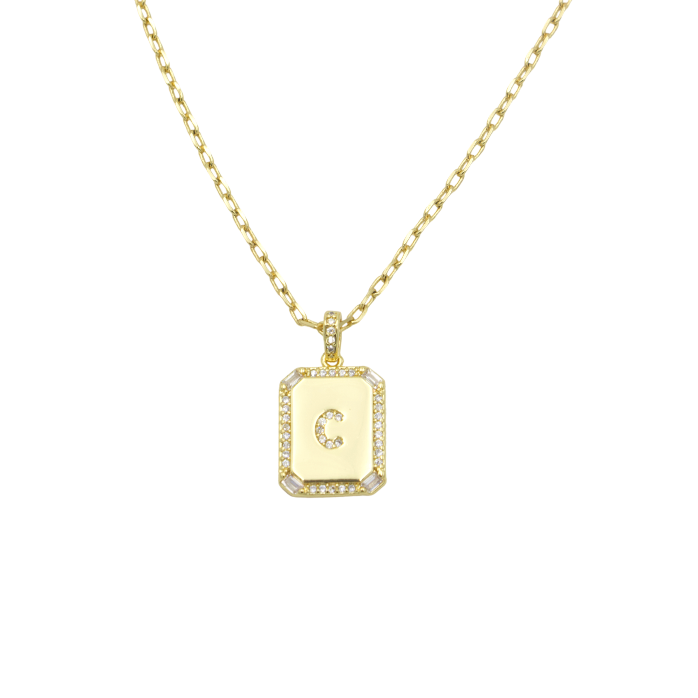 AW Boutique's gold filled 16 inch cable chain necklace finished with a dainty initial pendant with cubic zirconia detail. C initial shown.