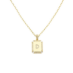 Load image into Gallery viewer, AW Boutique's gold filled 16 inch cable chain necklace finished with a dainty initial pendant with cubic zirconia detail. D initial shown.