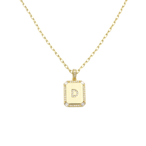 AW Boutique's gold filled 16 inch cable chain necklace finished with a dainty initial pendant with cubic zirconia detail. D initial shown.