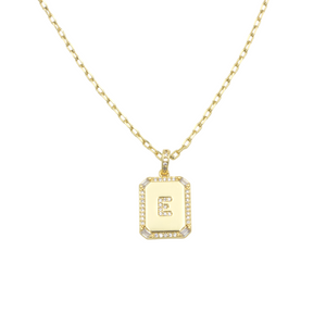 AW Boutique's gold filled 16 inch cable chain necklace finished with a dainty initial pendant with cubic zirconia detail. E initial shown.