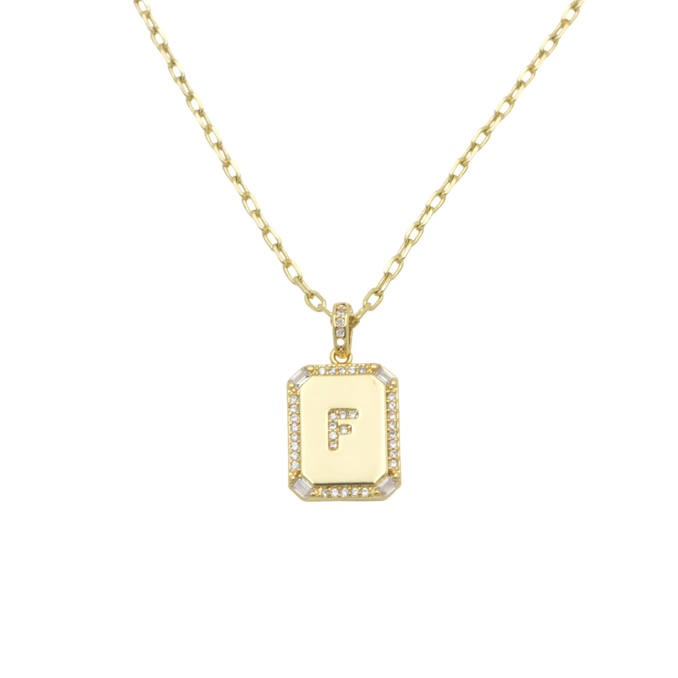AW Boutique's gold filled 16 inch cable chain necklace finished with a dainty initial pendant with cubic zirconia detail. F initial shown.