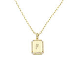 Load image into Gallery viewer, AW Boutique's gold filled 16 inch cable chain necklace finished with a dainty initial pendant with cubic zirconia detail. F initial shown.