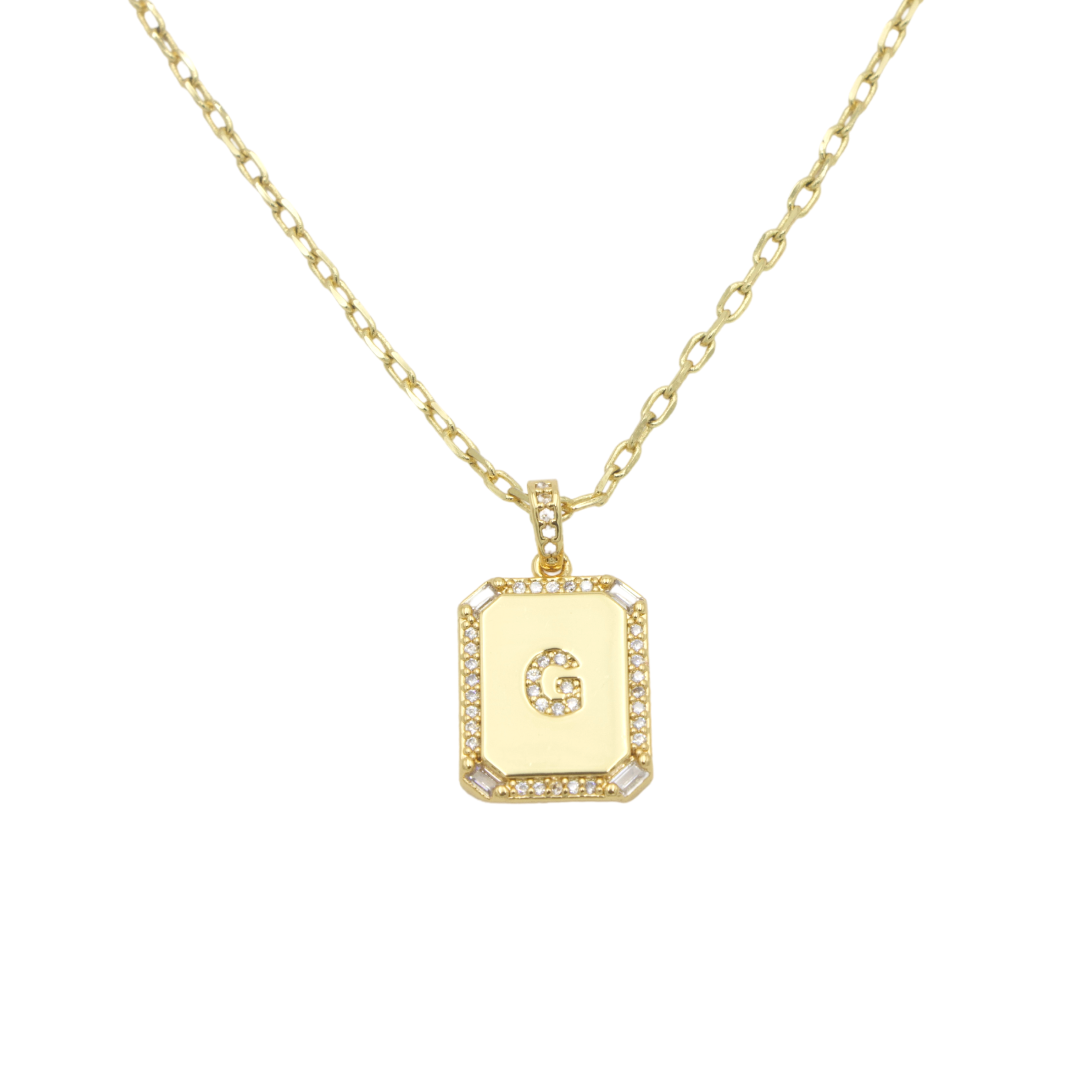AW Boutique's gold filled 16 inch cable chain necklace finished with a dainty initial pendant with cubic zirconia detail. G initial shown.