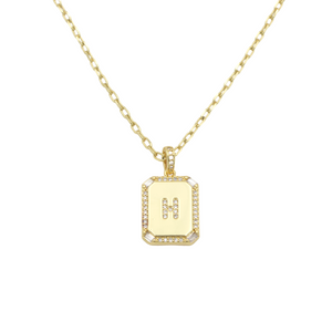 AW Boutique's gold filled 16 inch cable chain necklace finished with a dainty initial pendant with cubic zirconia detail. H initial shown.