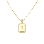 Load image into Gallery viewer, AW Boutique's gold filled 16 inch cable chain necklace finished with a dainty initial pendant with cubic zirconia detail. I initial shown.